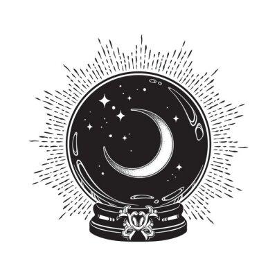 Plakat Ręcznie rysowana magiczna kryształowa kula z grafiką w kształcie półksiężyca i gwiazd oraz kropką. Boho chic tatuaż, plakat lub welon ołtarzowy projekt ilustracji wektorowych.