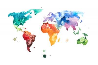 Plakat Ręcznie rysowane akwarela akwarela ilustracja mapa świata.