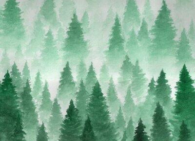 Plakat Ręcznie rysowane akwarela ilustracji. Krajobraz mglisty, mistyczny, iglasty las na górach. Chmura, mgła, drzewa, zimno, zima
