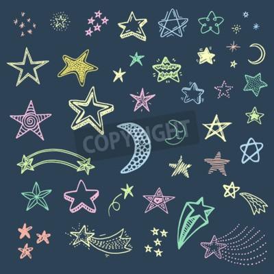Plakat Ręcznie rysowane doodle zestaw gwiazdek