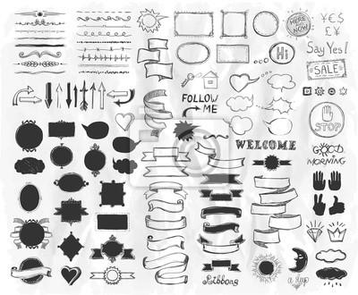Plakat Ręcznie rysowane elementy szkicu na papierze, ilustracji wektorowych, doodle elementy graficzne linii, wstążki stylu klasyczne, ramy, dzielniki, szczotki, sylwetki i fraz