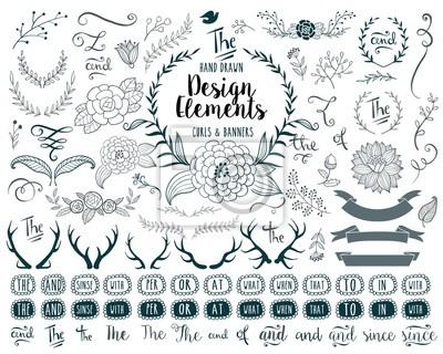 Plakat Ręcznie rysowane elementy wektorowe