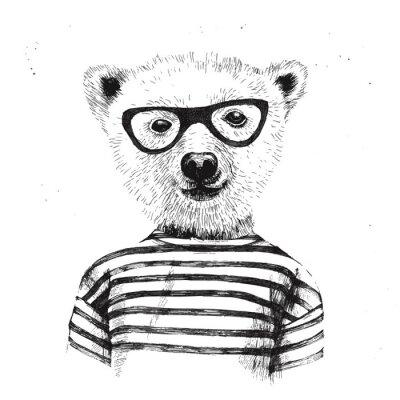 Plakat Ręcznie rysowane ilustracji przebrany hipster niedźwiedzia