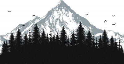 Plakat ręcznie rysowane ilustracji wektorowych natura z góry i lasu na pierwszy widok. sylwetka krajobrazu. za pomocą do podróży i charakter tła i karty