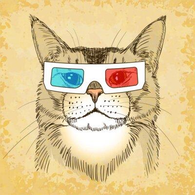 Plakat Ręcznie rysowane Kot z okularów 3D. ilustracji wektorowych, eps10.