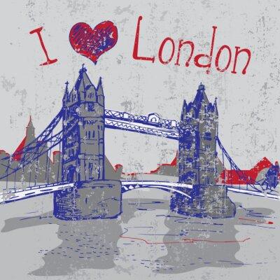 Plakat Ręcznie rysowane London Tower Bridge
