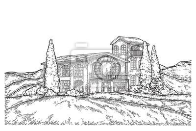 Ręcznie rysowane wiejski krajobraz z pola i rocznika domu. Ilustracji wektorowych grawerowane