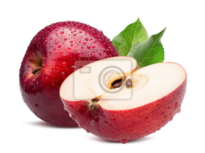 Plakat red apple with half in water drops isolated on a white background