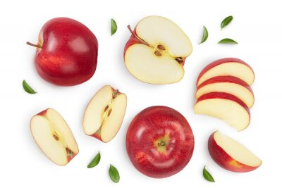 Plakat Red apple with half isolated on white background with clipping path and full depth of field. Top view. Flat lay. Set or collection