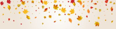 Plakat Red Floral Vector Grey Panoramic Background. Tree