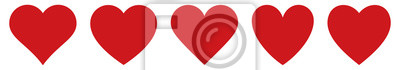 Plakat Red heart icons set vector