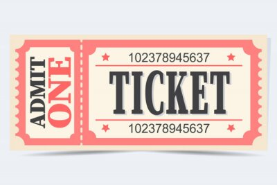 Plakat Red Retro tickets. Vintage. Old style. Classic vintage retro ticket for movies parties, cinema, theatre, circus and other events.