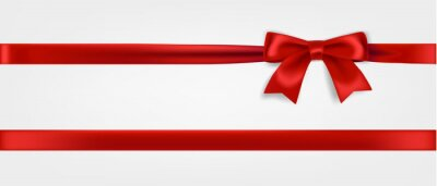 Plakat Red ribbon and bow realistic illustration