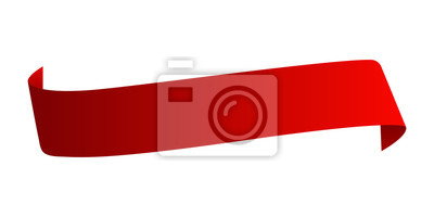 Plakat Red satin ribbon isolated on white background. Vector illustration.