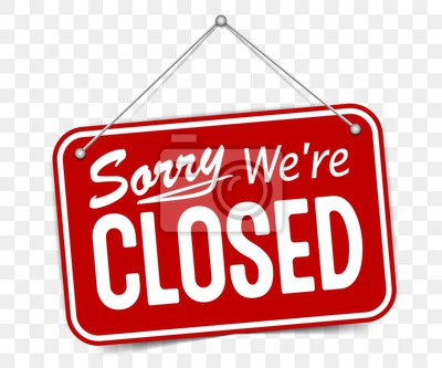 Plakat Red sign Sorry we are closed