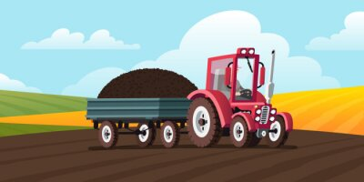 Red tractor with a trailer carries black soil. Rural landscape with fields. Agricultural machinery. Vector illustration in cartoon style.