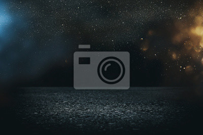 Plakat Reflektor na betonowej podłodze. ciemna czerń i świecące światła