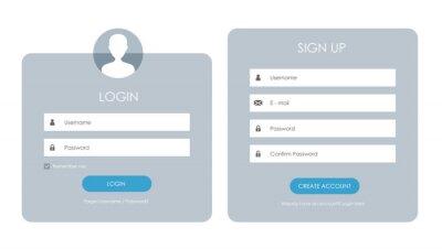 Plakat Registration form and login form page. Vector template for your design. Website ui concept.