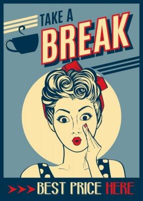Plakat Reklama retro retro plakat z kobietą pop-artu