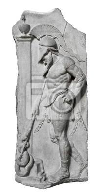 Plakat Relief i starożytny grecki wojownik na białym