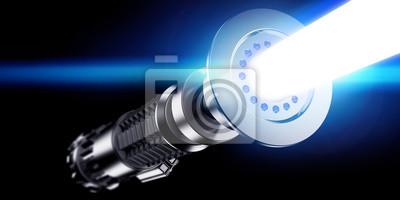 Plakat renderowania 3D z mieczem świetlnym na ciemnym tle