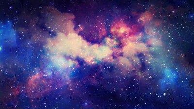 Plakat Renderowanie 3D mgławicy gwiezdnej i pyłu kosmicznego, kosmicznych gromad gazowych i konstelacji w kosmosie. Elementy tego obrazu dostarczone przez NASA
