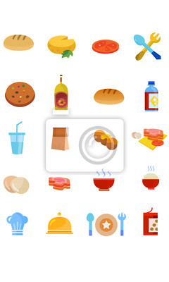 Plakat Restauracja i jedzenie icon set.