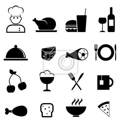 Plakat Restauracja i jedzenie ikony