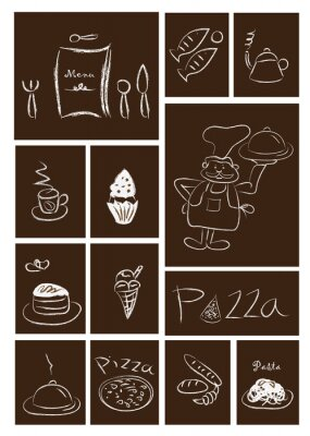 Plakat Restauracja i jedzenie zestaw ikon