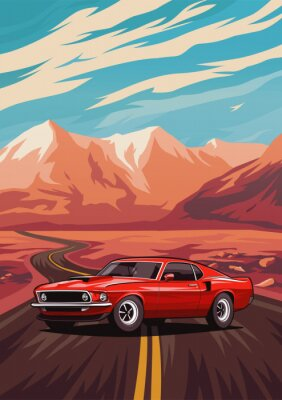 Plakat Retro amerykański mięsień samochodu plakat. Ilustracja z samochodową pozycją na drogowych pobliskich górach.