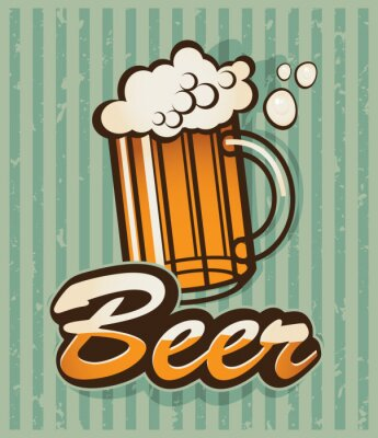 Plakat Retro banner z piwem