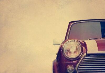 Plakat Retro car head light on paper grain background, vintage color tone