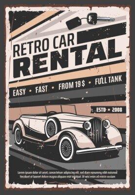 Plakat Retro car, vintage limousine rental service