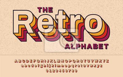 Plakat Retro Czcionki 90-tych, lata 80-te. Z efektem VHS, alfabet ABC Vector