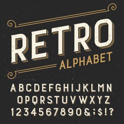Plakat Retro czcionki Alfabet wektorowych. Serif typu litery, cyfry i symbole. na ciemnym tle udzielenie porysowany. Wektor typografii Zdjęcie na etykiety, nagłówki, plakaty itd.
