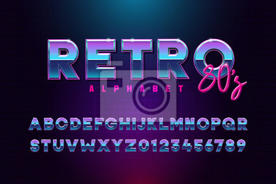 Plakat Retro font effect based on the 80s. Vector design 3d text elements based on retrowave, synthwave graphic styles. Mettalic alphabet typeface in different blue and purple colors