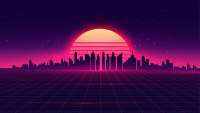 Plakat Retro futuristic synthwave retrowave styled night cityscape with sunset on background. Cover or banner template for retro wave music. Vector illustration.
