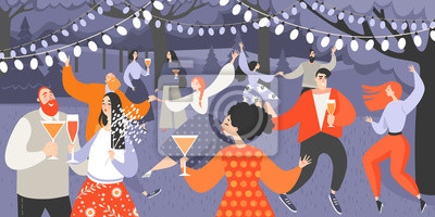 Plakat Retro garden party with people dancing and drinking wine. Cartoon characters having fun in the park at night.