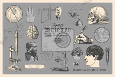 Plakat retro graficzne elementy projektu: rocznik naukowy - zbiór starych rysunków prezentujących dyscyplin, takich jak medycyna, frenologia, chemii, chiromancja chiromancja (nawigacja) i morskie