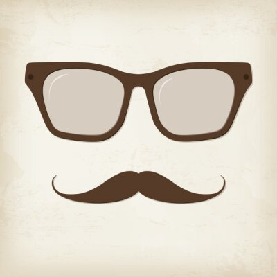 Plakat Retro hipster wąsy i okulary. Wektor karty.
