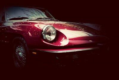 Plakat Retro klasyczny samochód na ciemnym tle. Vintage, eleganckie