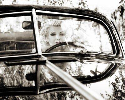 Plakat Retro kobieta za kierownicą