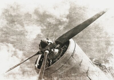 Plakat Retro lotnictwo, stary samolot