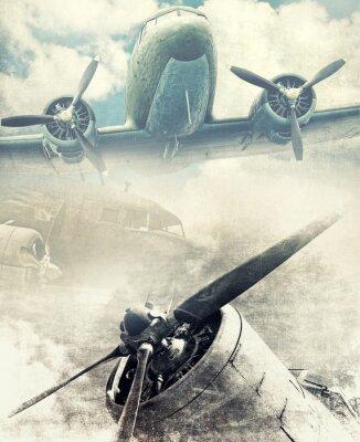 Plakat Retro lotnictwo, tło Vinatge