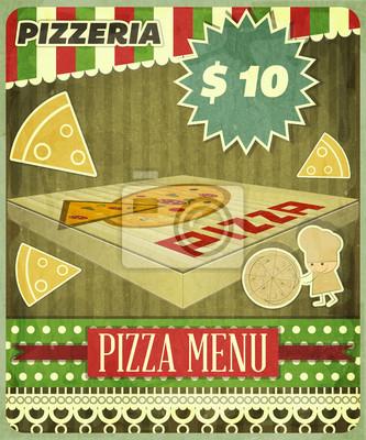 Plakat Retro Menu Osłona Pizzeria