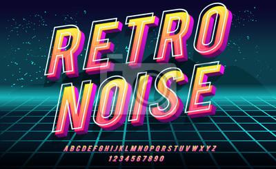Plakat Retro Noise. 3D bold font in 1980s style. Illustration of 1980 retro neon poster. Futuristic landscape.