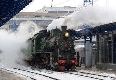 Plakat Retro pary pociągów na stacji, Kijów, Ukraina