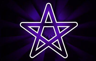 Plakat Retro Pentagramm auf violettem Hintergrund