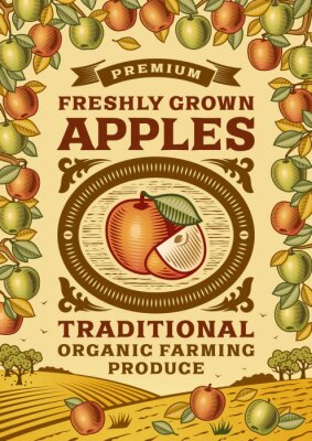 Plakat Retro plakat jabłek
