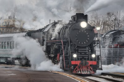 Plakat Retro pociąg parowy.